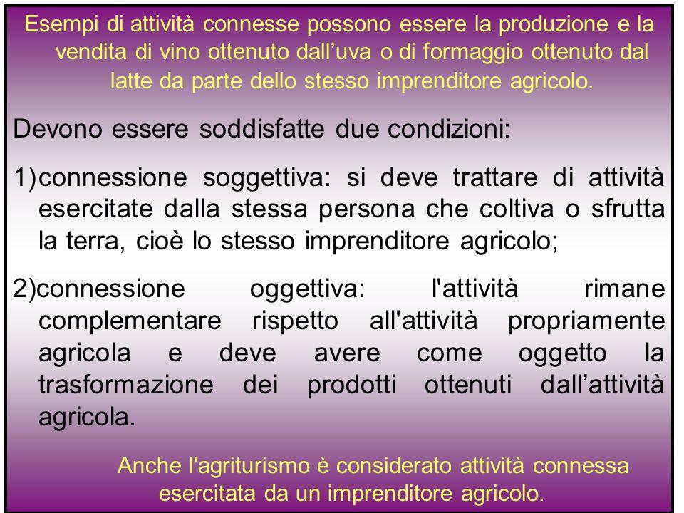 Esempi di attività connesse possono essere la produzione e la vendita di vino ottenuto dall'uva o di formaggio ottenuto dal latte da parte dello stess