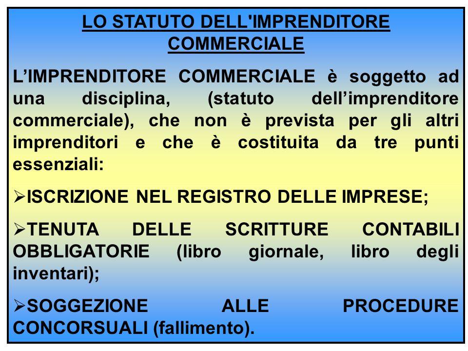 LO STATUTO DELL'IMPRENDITORE COMMERCIALE L'IMPRENDITORE COMMERCIALE è soggetto ad una disciplina, (statuto dell'imprenditore commerciale), che non è p