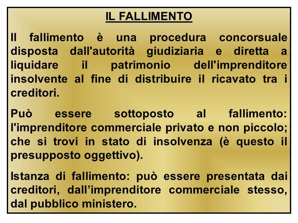IL FALLIMENTO Il fallimento è una procedura concorsuale disposta dall'autorità giudiziaria e diretta a liquidare il patrimonio dell'imprenditore insol