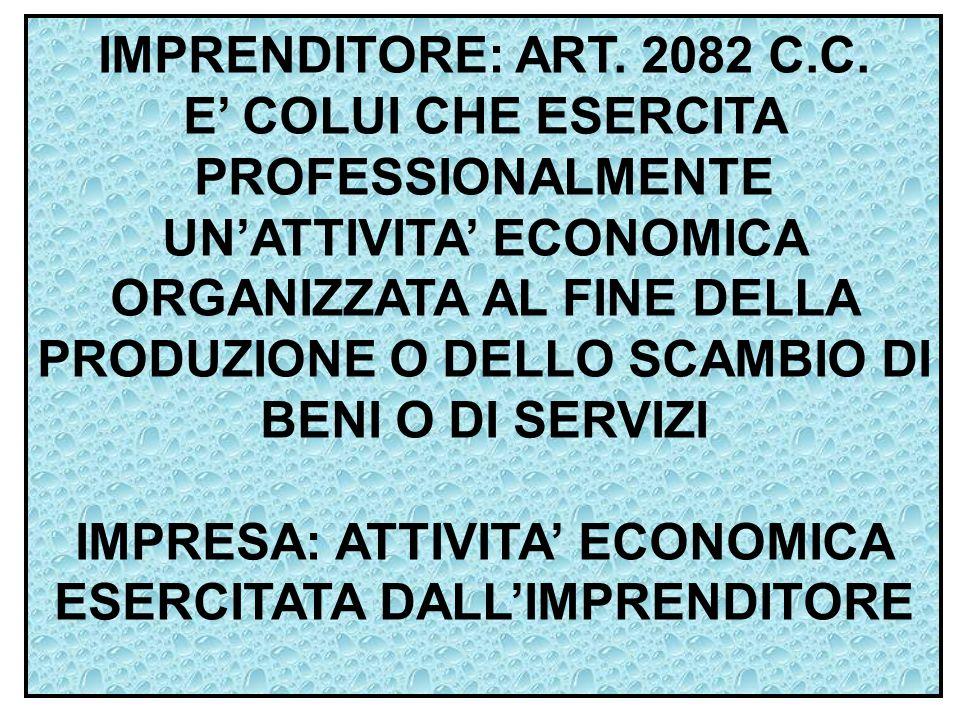 IMPRENDITORE: ART. 2082 C.C. E' COLUI CHE ESERCITA PROFESSIONALMENTE UN'ATTIVITA' ECONOMICA ORGANIZZATA AL FINE DELLA PRODUZIONE O DELLO SCAMBIO DI BE