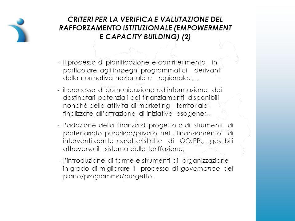 CRITERI PER LA VERIFICA E VALUTAZIONE DEL RAFFORZAMENTO ISTITUZIONALE (EMPOWERMENT E CAPACITY BUiLDING) (2) -Il processo di pianificazione e con riferimento in particolare agli impegni programmatici derivanti dalla normativa nazionale e regionale; - il processo di comunicazione ed informazione dei destinatari potenziali dei finanziamenti disponibili nonché delle attività di marketing territoriale finalizzate all'attrazione di iniziative esogene; - l'adozione della finanza di progetto o di strumenti di partenariato pubblico/privato nel finanziamento di interventi con le caratteristiche di OO.PP., gestibili attraverso il sistema della tariffazione; - l'introduzione di forme e strumenti di organizzazione in grado di migliorare il processo di governance del piano/programma/progetto.