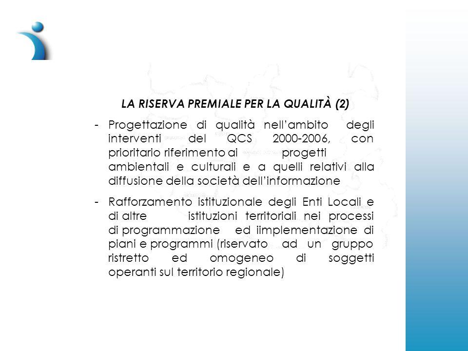 LA RISERVA PREMIALE PER LA QUALITÀ (2) -Progettazione di qualità nell'ambito degli interventi del QCS 2000-2006, con prioritario riferimento ai progetti ambientali e culturali e a quelli relativi alla diffusione della società dell'informazione -Rafforzamento istituzionale degli Enti Locali e di altre istituzioni territoriali nei processi di programmazione ed iimplementazione di piani e programmi (riservato ad un gruppo ristretto ed omogeneo di soggetti operanti sul territorio regionale)
