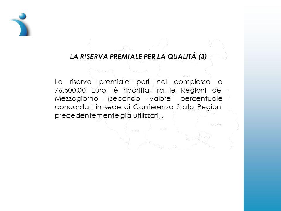 LA RISERVA PREMIALE PER LA QUALITÀ (3) La riserva premiale pari nel complesso a 76.500.00 Euro, è ripartita tra le Regioni del Mezzogiorno (secondo valore percentuale concordati in sede di Conferenza Stato Regioni precedentemente già utilizzati).