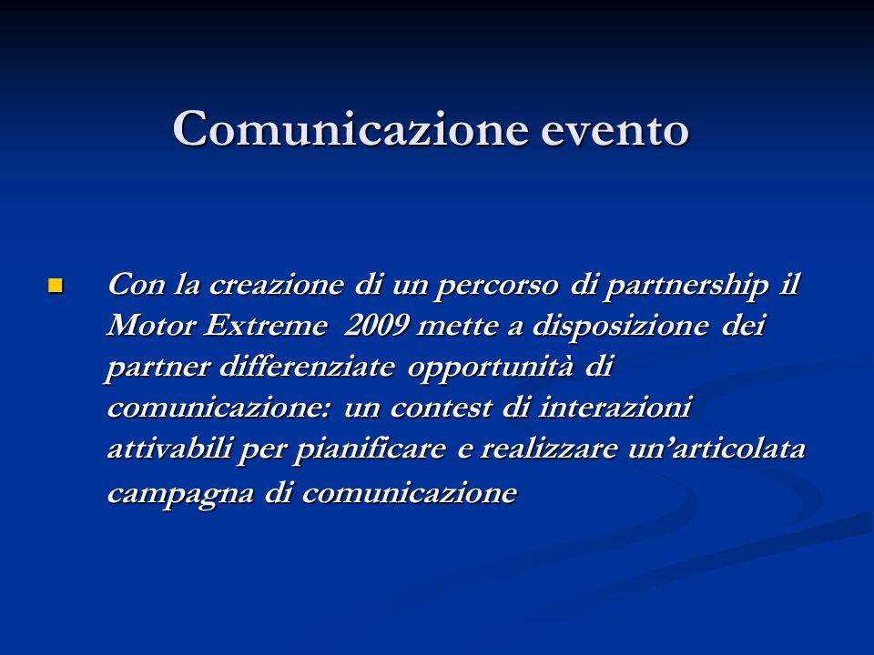 Comunicazione evento Con la creazione di un percorso di partnership il Motor Extreme 2009 mette a disposizione dei partner differenziate opportunità d