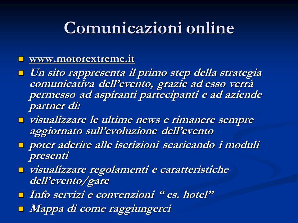 Comunicazioni online www.motorextreme.it www.motorextreme.it Un sito rappresenta il primo step della strategia comunicativa dell'evento, grazie ad ess