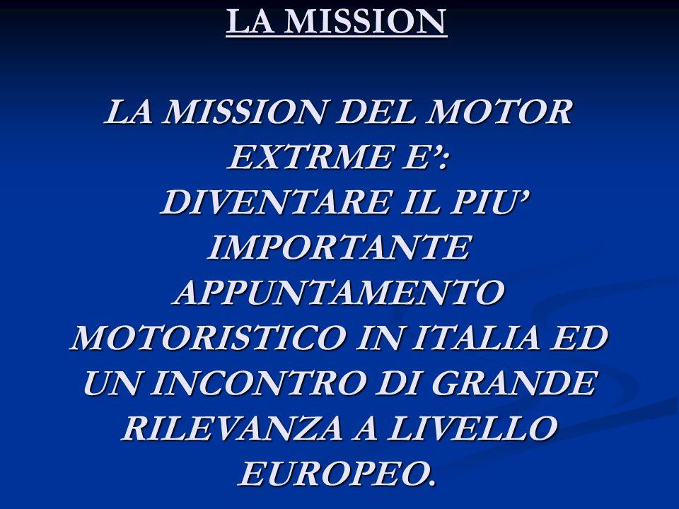 LA MISSION LA MISSION DEL MOTOR EXTRME E': DIVENTARE IL PIU' IMPORTANTE APPUNTAMENTO MOTORISTICO IN ITALIA ED UN INCONTRO DI GRANDE RILEVANZA A LIVELLO EUROPEO.