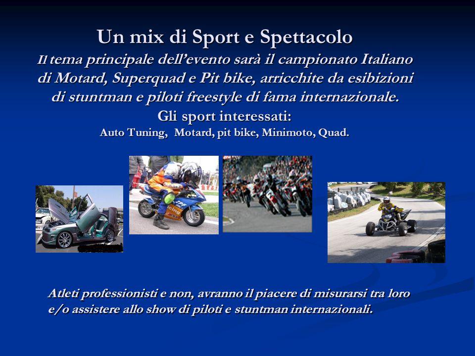 Un mix di Sport e Spettacolo Il tema principale dell'evento sarà il campionato Italiano di Motard, Superquad e Pit bike, arricchite da esibizioni di stuntman e piloti freestyle di fama internazionale.