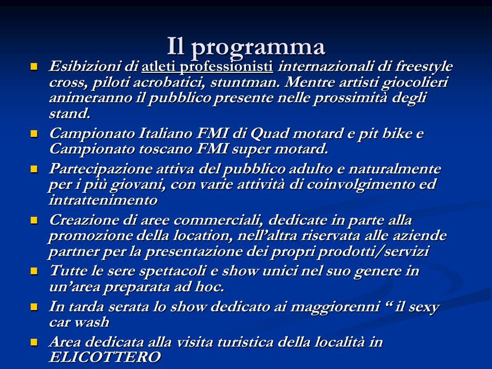 Il programma Esibizioni di atleti professionisti internazionali di freestyle cross, piloti acrobatici, stuntman. Mentre artisti giocolieri animeranno