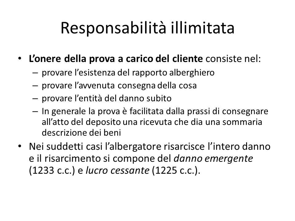 Responsabilità illimitata L'onere della prova a carico del cliente consiste nel: – provare l'esistenza del rapporto alberghiero – provare l'avvenuta c