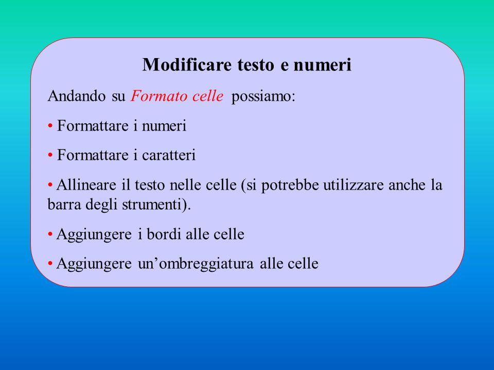 Modificare testo e numeri Andando su Formato celle possiamo: Formattare i numeri Formattare i caratteri Allineare il testo nelle celle (si potrebbe utilizzare anche la barra degli strumenti).