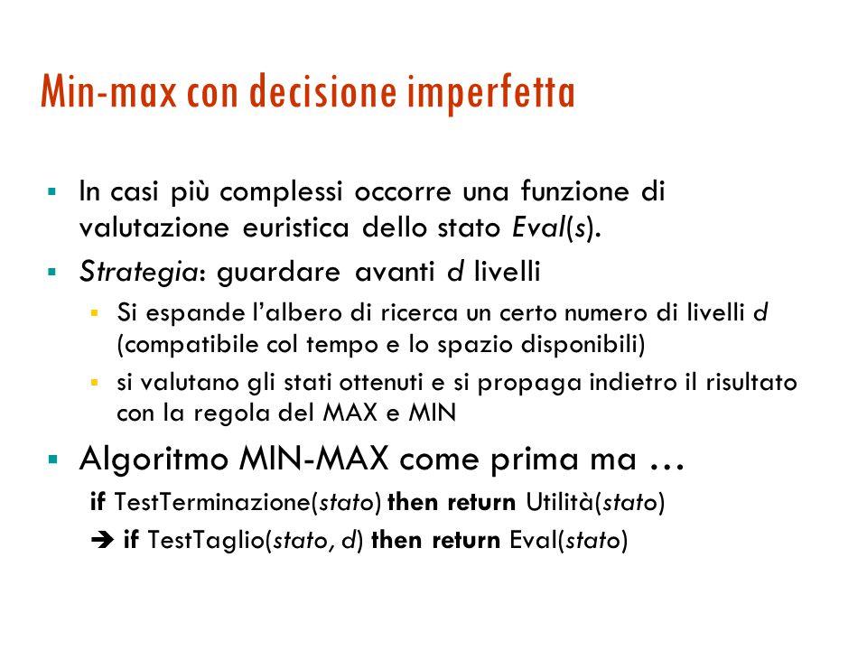 Min-max con decisione imperfetta  In casi più complessi occorre una funzione di valutazione euristica dello stato Eval(s).  Strategia: guardare avan