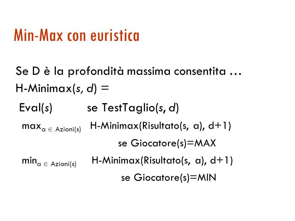 Min-Max con euristica Se D è la profondità massima consentita … H-Minimax(s, d) = Eval(s) se TestTaglio(s, d) max a  Azioni(s) H-Minimax(Risultato(s, a), d+1) se Giocatore(s)=MAX min a  Azioni(s) H-Minimax(Risultato(s, a), d+1) se Giocatore(s)=MIN