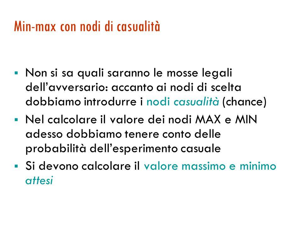 Min-max con nodi di casualità  Non si sa quali saranno le mosse legali dell'avversario: accanto ai nodi di scelta dobbiamo introdurre i nodi casualit