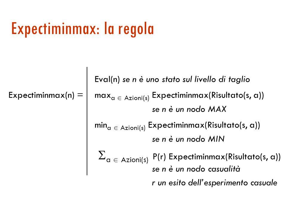 Expectiminmax: la regola Eval(n) se n è uno stato sul livello di taglio Expectiminmax(n) = max a  Azioni(s) Expectiminmax(Risultato(s, a)) se n è un nodo MAX min a  Azioni(s) Expectiminmax(Risultato(s, a)) se n è un nodo MIN  a  Azioni(s) P(r) Expectiminmax(Risultato(s, a)) se n è un nodo casualità r un esito dell'esperimento casuale