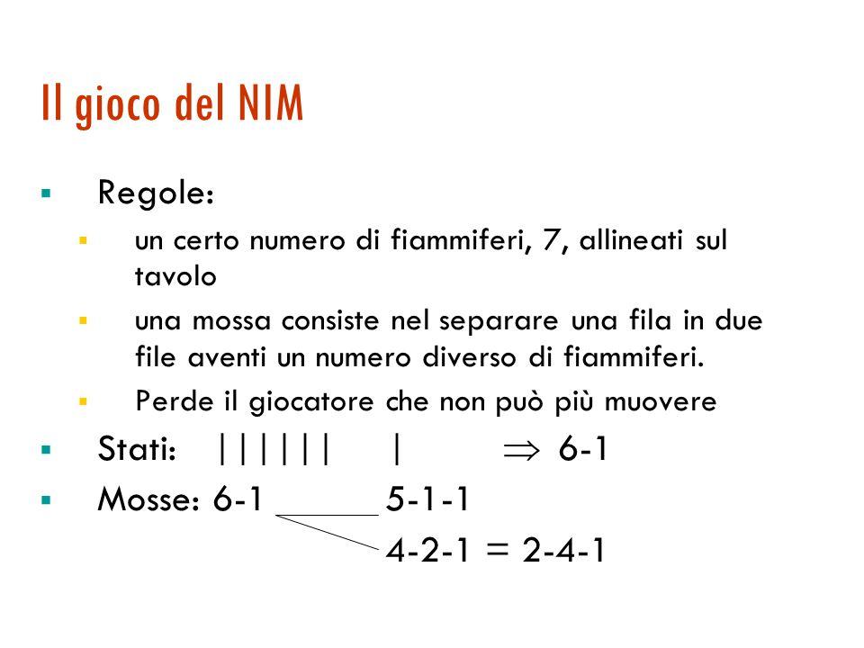Il gioco del NIM  Regole:  un certo numero di fiammiferi, 7, allineati sul tavolo  una mossa consiste nel separare una fila in due file aventi un n