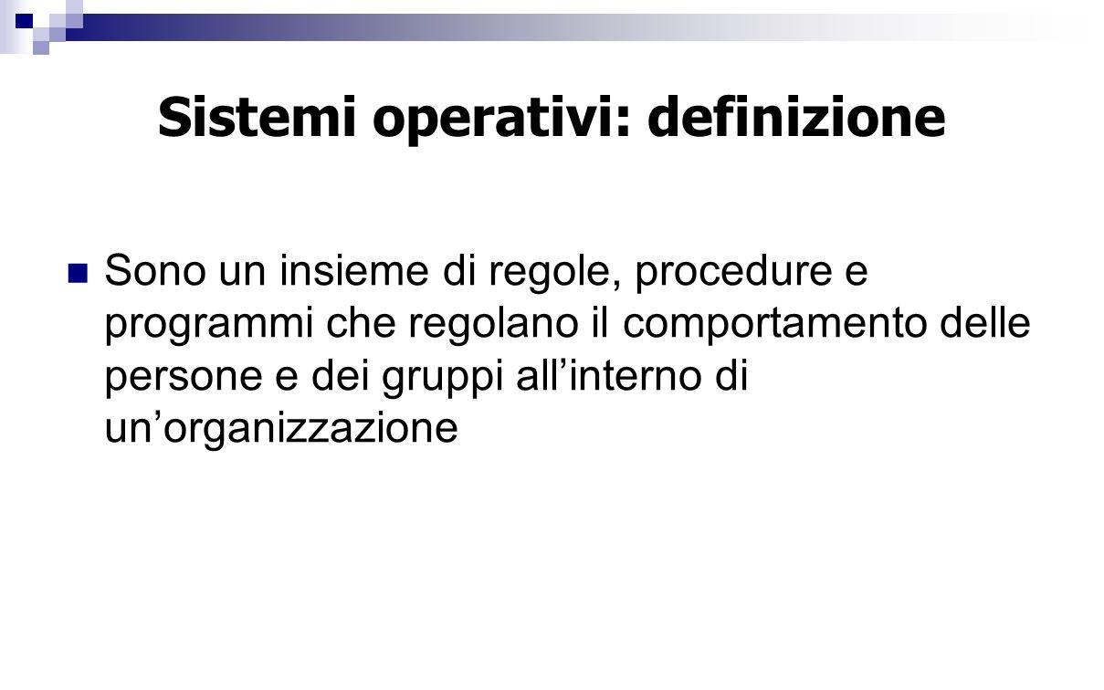 Sistemi operativi: definizione Sono un insieme di regole, procedure e programmi che regolano il comportamento delle persone e dei gruppi all'interno d
