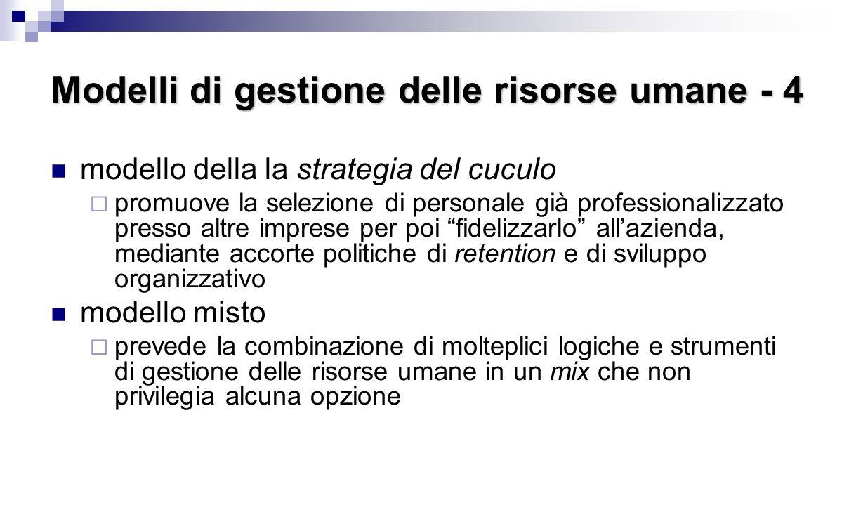 Modelli di gestione delle risorse umane - 4 modello della la strategia del cuculo  promuove la selezione di personale già professionalizzato presso a