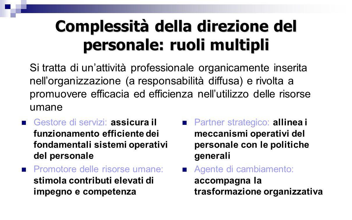 Complessità della direzione del personale: ruoli multipli Gestore di servizi: assicura il funzionamento efficiente dei fondamentali sistemi operativi