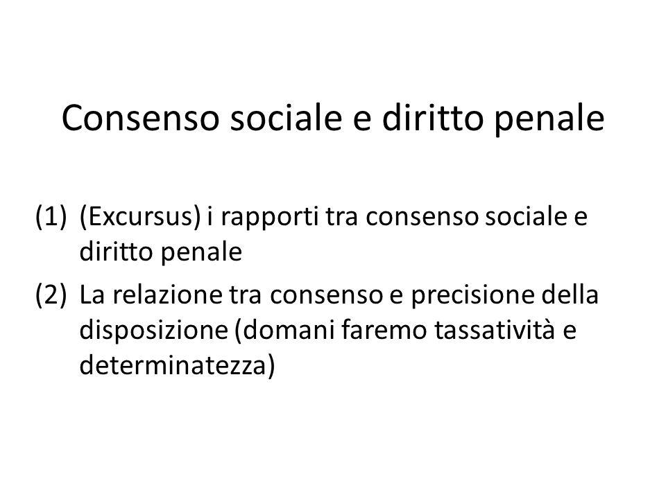 Consenso sociale e diritto penale (1)(Excursus) i rapporti tra consenso sociale e diritto penale (2)La relazione tra consenso e precisione della disposizione (domani faremo tassatività e determinatezza)