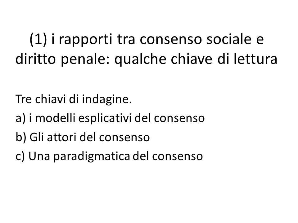 (1) i rapporti tra consenso sociale e diritto penale: qualche chiave di lettura Tre chiavi di indagine. a) i modelli esplicativi del consenso b) Gli a