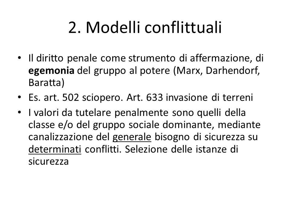 2. Modelli conflittuali Il diritto penale come strumento di affermazione, di egemonia del gruppo al potere (Marx, Darhendorf, Baratta) Es. art. 502 sc
