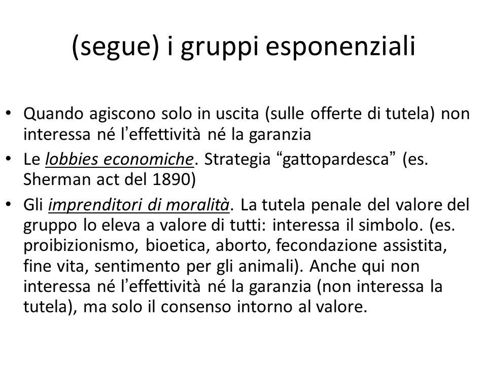 (segue) i gruppi esponenziali Quando agiscono solo in uscita (sulle offerte di tutela) non interessa né l ' effettività né la garanzia Le lobbies economiche.