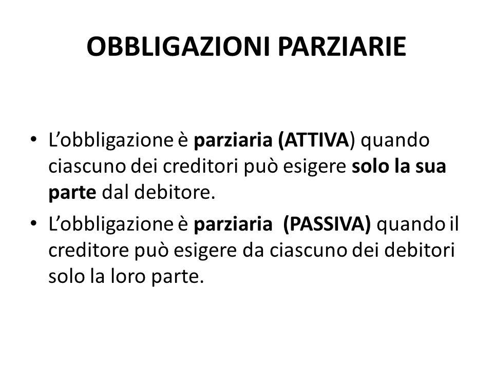 OBBLIGAZIONI PARZIARIE L'obbligazione è parziaria (ATTIVA) quando ciascuno dei creditori può esigere solo la sua parte dal debitore.
