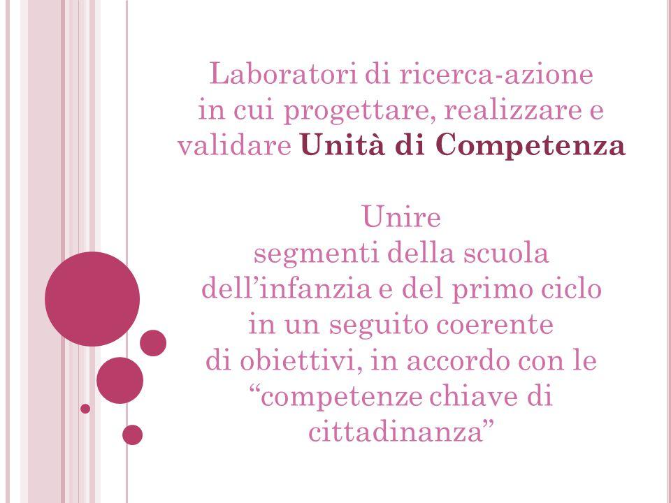 Laboratori di ricerca-azione in cui progettare, realizzare e validare Unità di Competenza Unire segmenti della scuola dell'infanzia e del primo ciclo