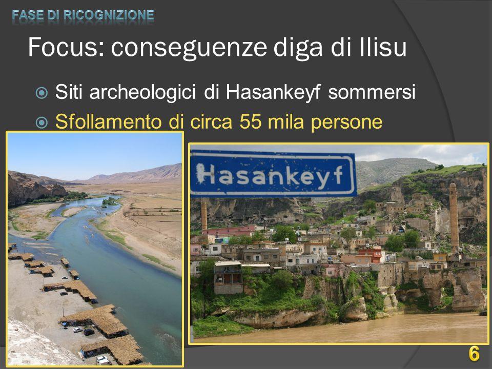 Focus: conseguenze diga di Ilisu  Siti archeologici di Hasankeyf sommersi  Sfollamento di circa 55 mila persone