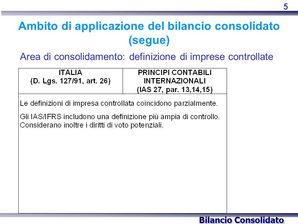 Bilancio Consolidato Ambito di applicazione del bilancio consolidato (segue) Area di consolidamento: definizione di imprese controllate 5