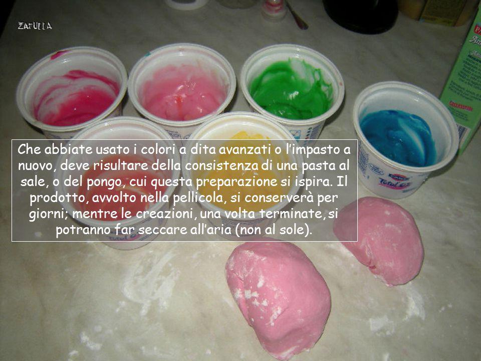 Che abbiate usato i colori a dita avanzati o l'impasto a nuovo, deve risultare della consistenza di una pasta al sale, o del pongo, cui questa preparazione si ispira.