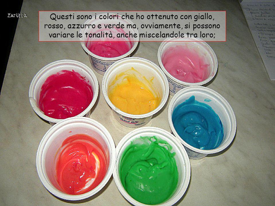 I colori alimentari si possono sostituire con le spezie e/o verdure, ad esempio: cannella per fare il giallo, spinaci lessati e trita- ti per fare il verde, il rosa dei pomodori, il ros- so dalla barbabietola, marrone dal caffè, ecc.