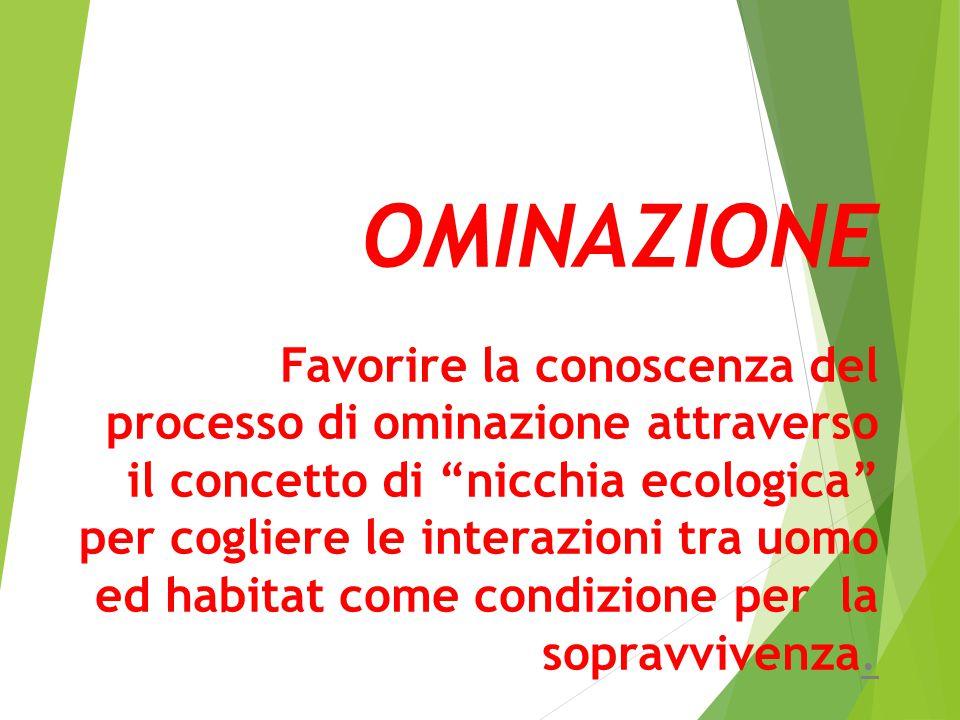 """OMINAZIONE Favorire la conoscenza del processo di ominazione attraverso il concetto di """"nicchia ecologica"""" per cogliere le interazioni tra uomo ed hab"""