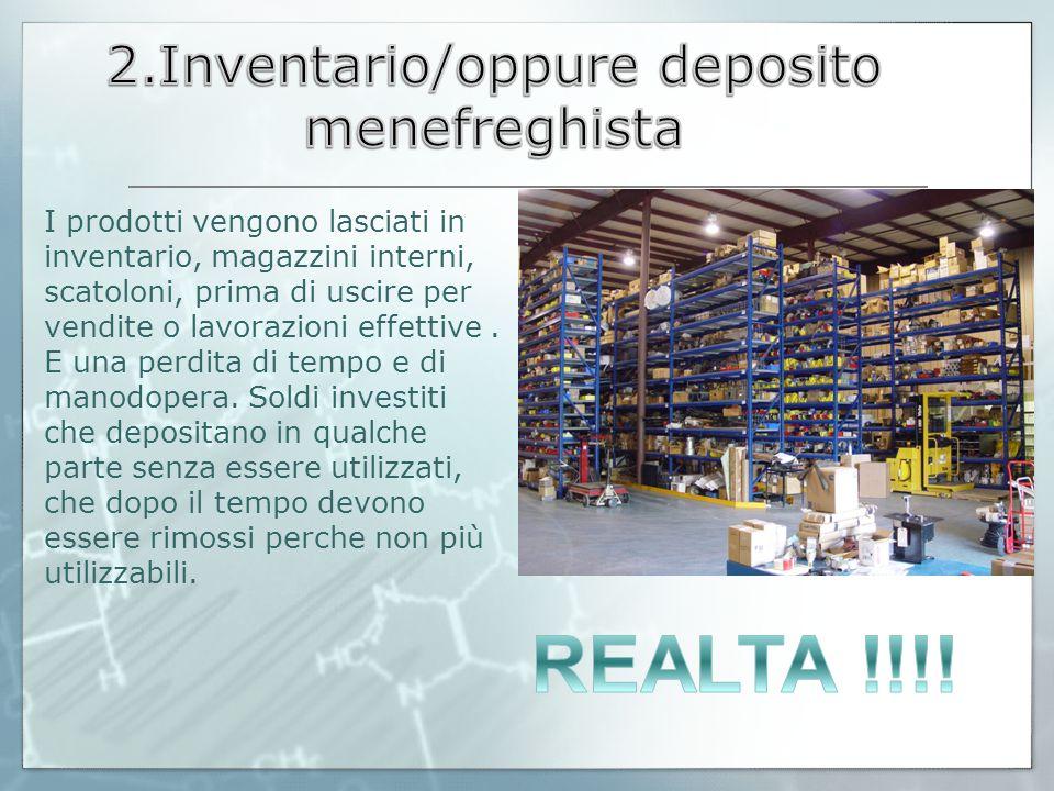 I prodotti vengono lasciati in inventario, magazzini interni, scatoloni, prima di uscire per vendite o lavorazioni effettive. E una perdita di tempo e