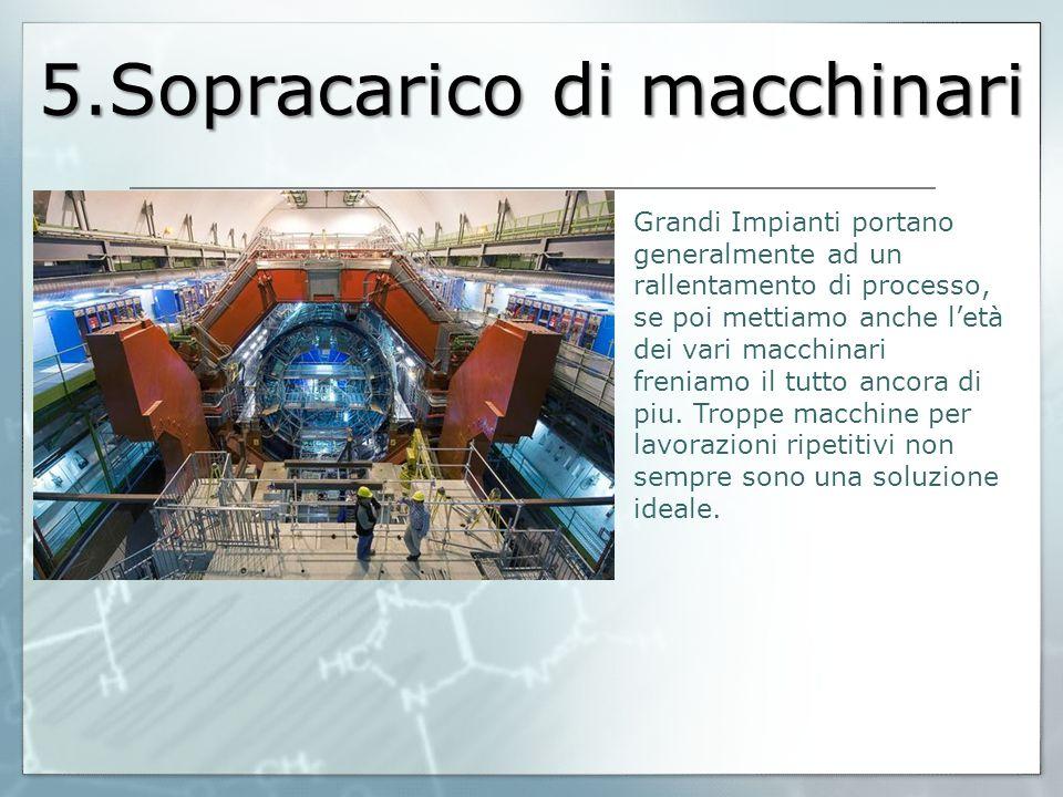 5.Sopracarico di macchinari Grandi Impianti portano generalmente ad un rallentamento di processo, se poi mettiamo anche l'età dei vari macchinari fren