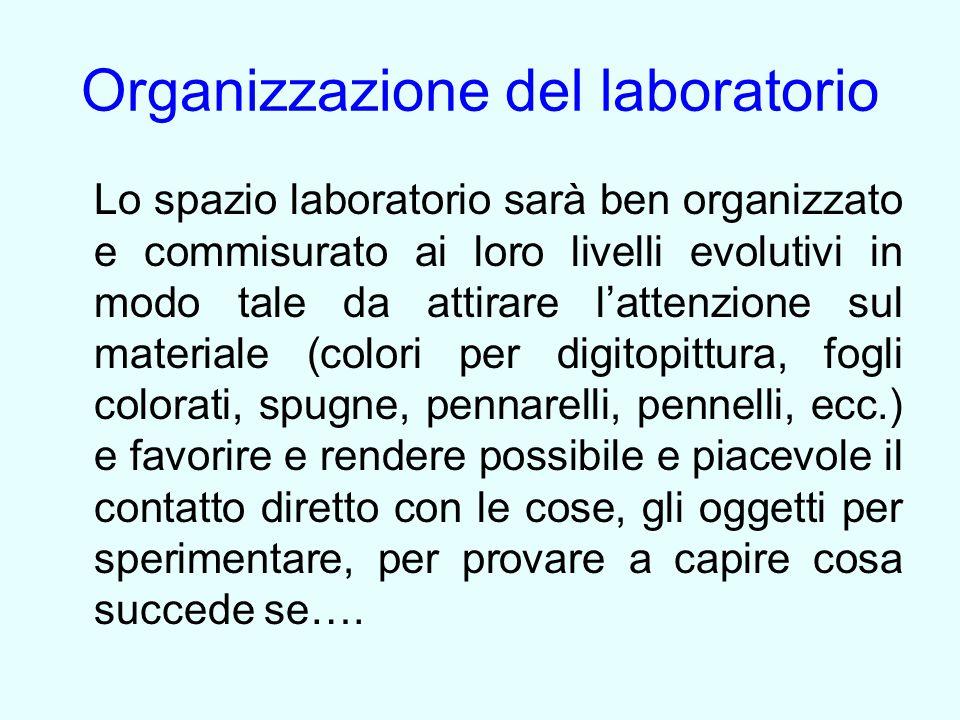 Organizzazione del laboratorio Lo spazio laboratorio sarà ben organizzato e commisurato ai loro livelli evolutivi in modo tale da attirare l'attenzion