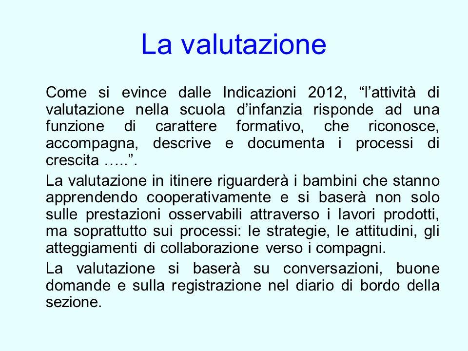 """La valutazione Come si evince dalle Indicazioni 2012, """"l'attività di valutazione nella scuola d'infanzia risponde ad una funzione di carattere formati"""