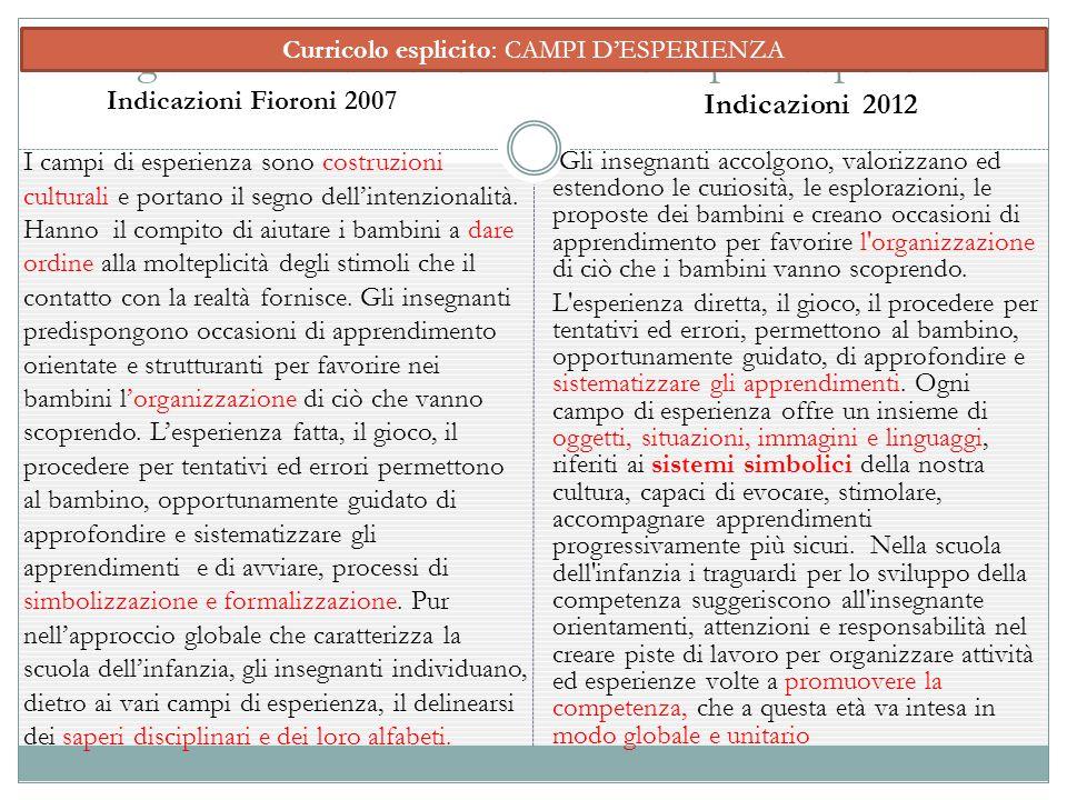 Organizzazione Del Curricolo: Campi D'esperienza I campi di esperienza sono costruzioni culturali e portano il segno dell'intenzionalità. Hanno il com