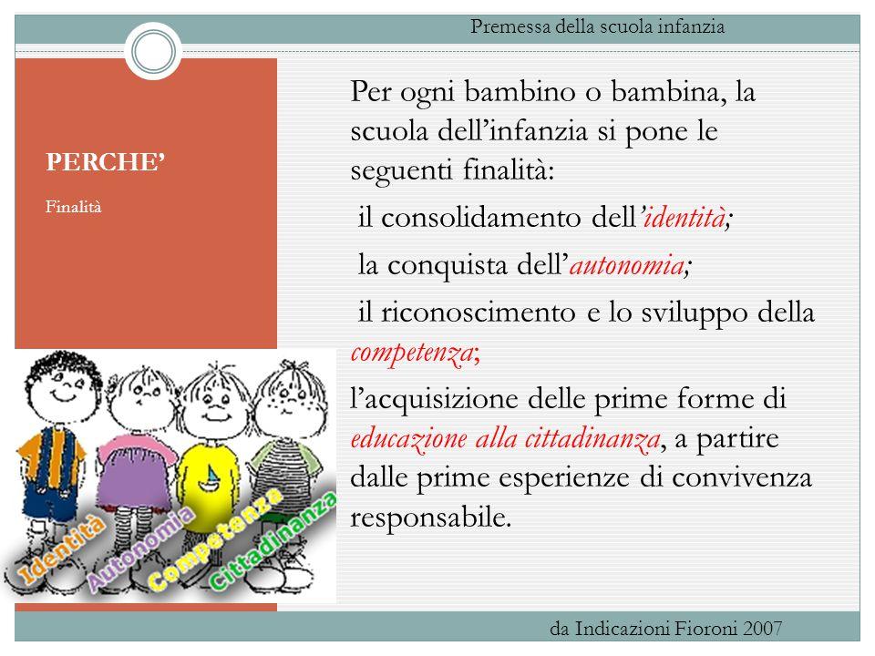 PERCHE' Finalità Per ogni bambino o bambina, la scuola dell'infanzia si pone le seguenti finalità: il consolidamento dell'identità; la conquista dell'