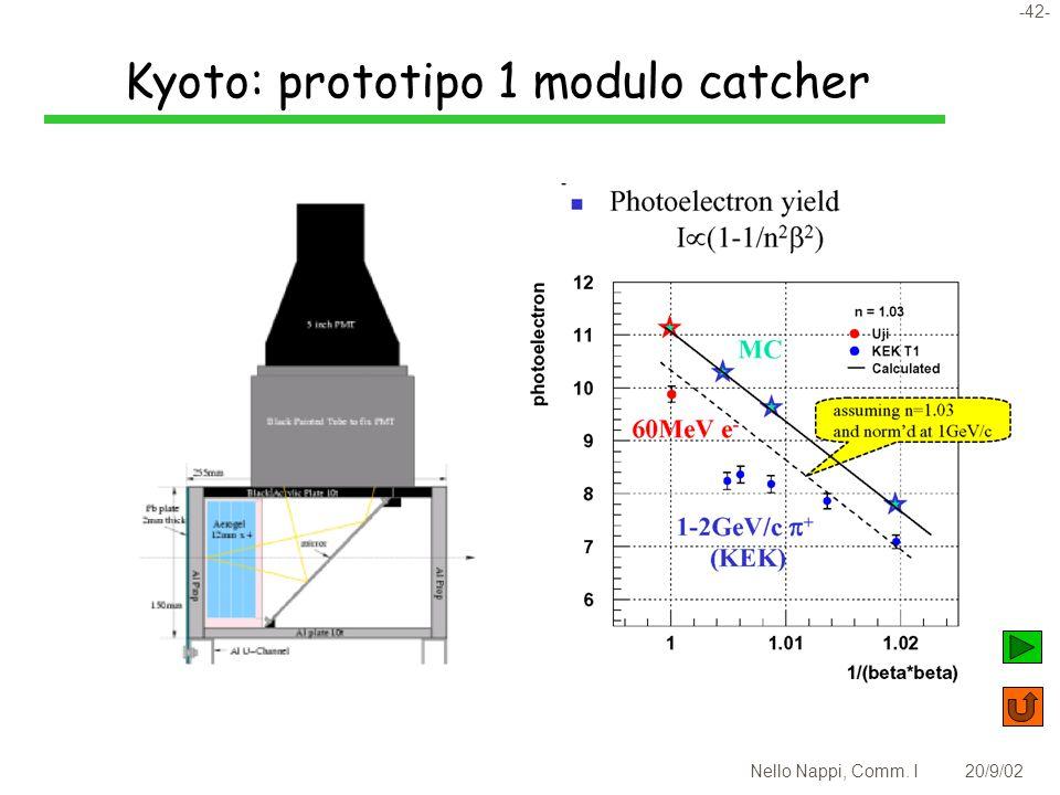 -42- Nello Nappi, Comm. I20/9/02 Kyoto: prototipo 1 modulo catcher