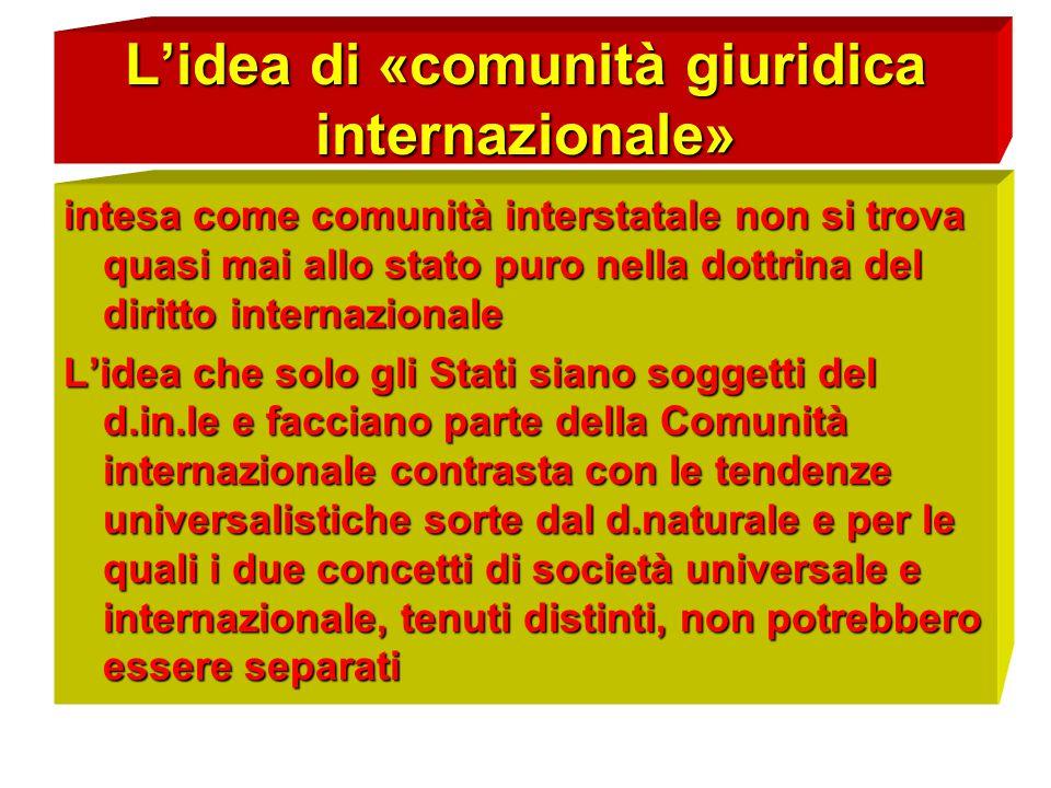 L'idea di «comunità giuridica internazionale» intesa come comunità interstatale non si trova quasi mai allo stato puro nella dottrina del diritto inte