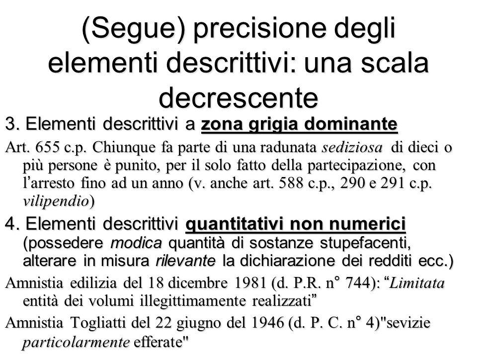 (Segue) precisione degli elementi descrittivi: una scala decrescente 3. Elementi descrittivi a zona grigia dominante Art. 655 c.p. Chiunque fa parte d