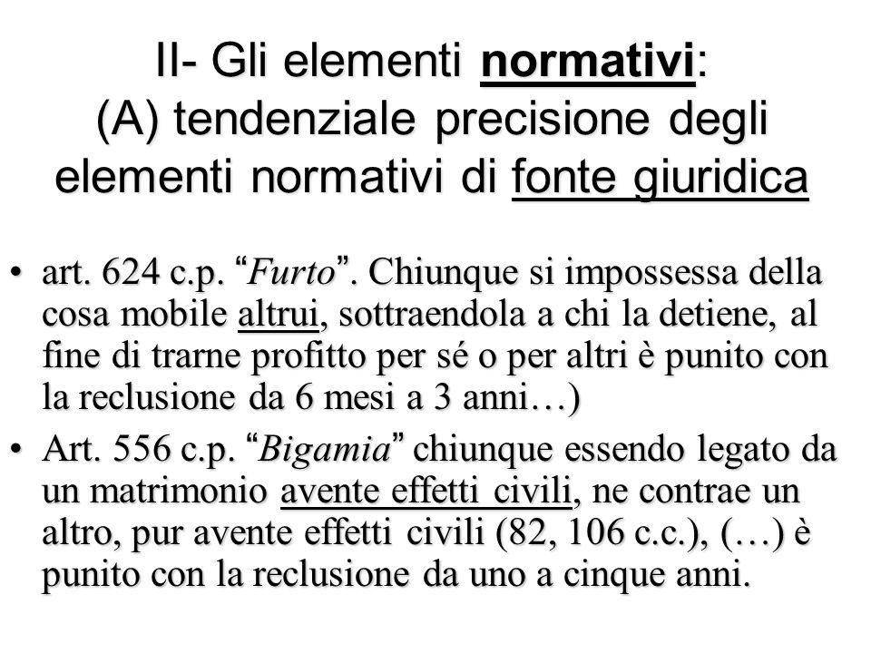 """II- Gli elementi normativi: (A) tendenziale precisione degli elementi normativi di fonte giuridica art. 624 c.p. """"Furto"""". Chiunque si impossessa della"""