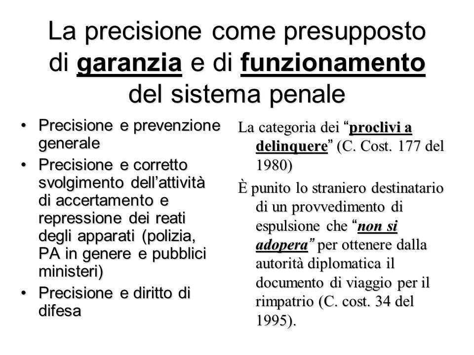 Principio di precisione e tecniche di formulazione Legislazione casistica (es.