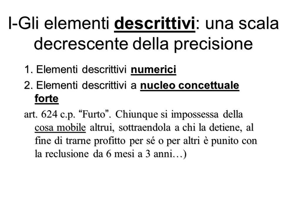 I-Gli elementi descrittivi: una scala decrescente della precisione 1. Elementi descrittivi numerici 2. Elementi descrittivi a nucleo concettuale forte