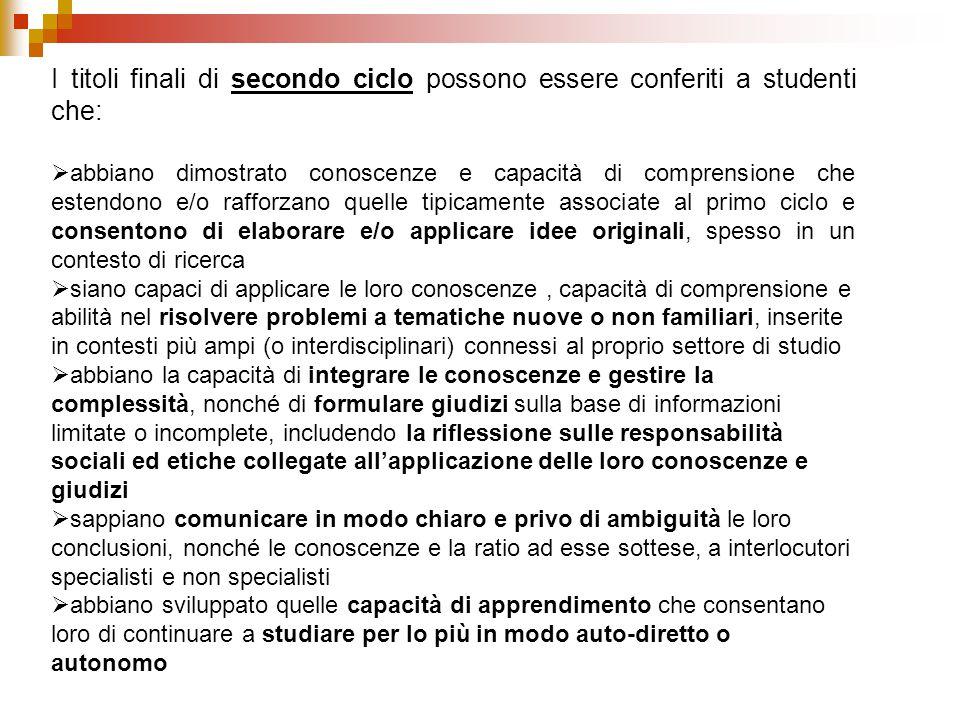 I titoli finali di secondo ciclo possono essere conferiti a studenti che:  abbiano dimostrato conoscenze e capacità di comprensione che estendono e/o