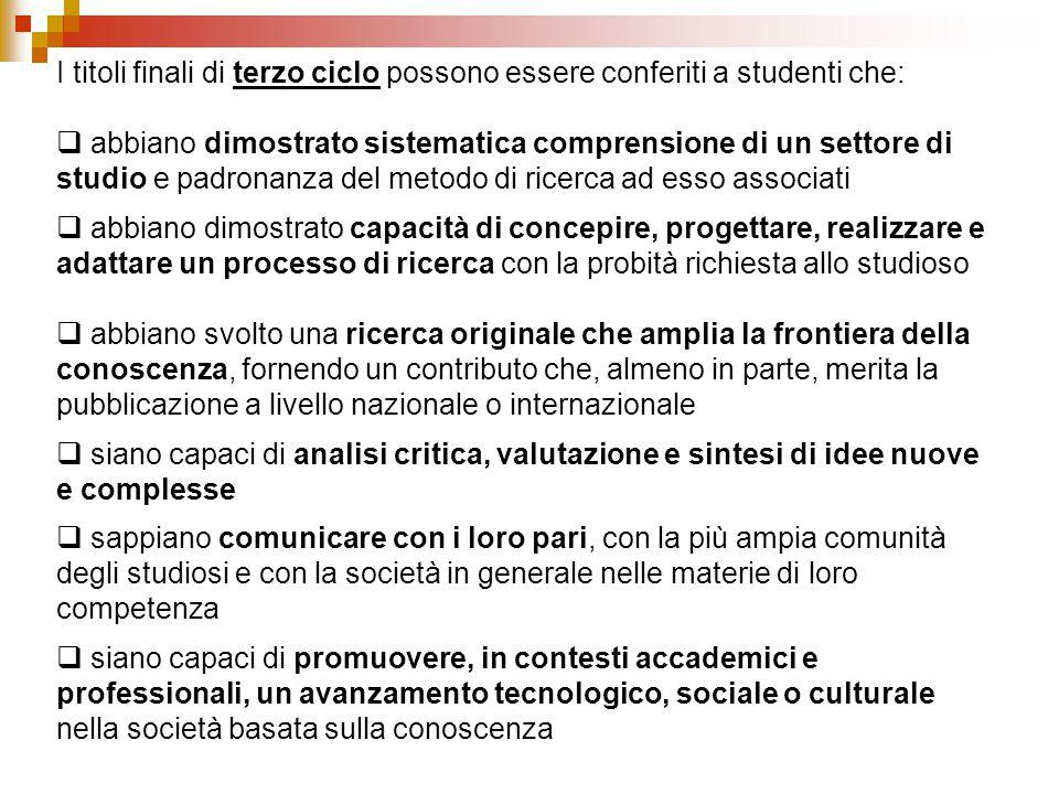I titoli finali di terzo ciclo possono essere conferiti a studenti che:  abbiano dimostrato sistematica comprensione di un settore di studio e padron