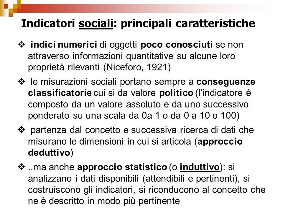 Indicatori sociali: principali caratteristiche  indici numerici di oggetti poco conosciuti se non attraverso informazioni quantitative su alcune loro