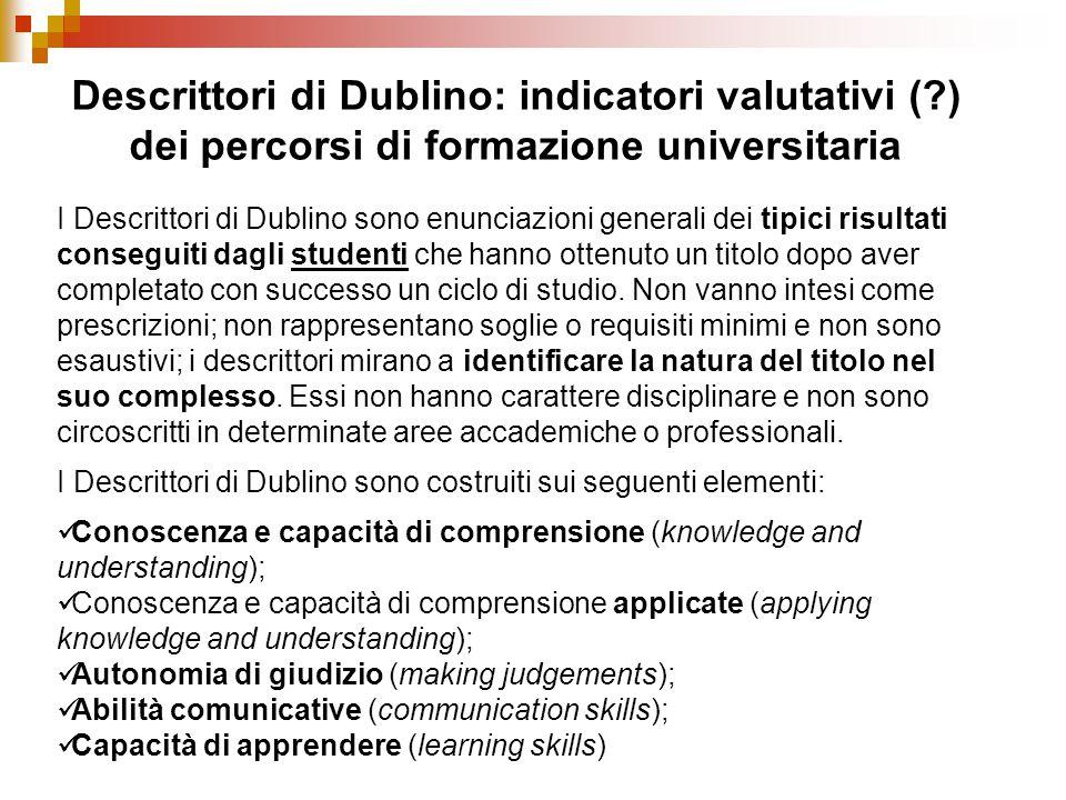 Descrittori di Dublino: indicatori valutativi (?) dei percorsi di formazione universitaria I Descrittori di Dublino sono enunciazioni generali dei tip