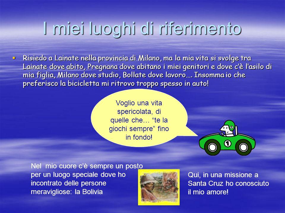I miei luoghi di riferimento  Risiedo a Lainate nella provincia di Milano, ma la mia vita si svolge tra Lainate dove abito, Pregnana dove abitano i m